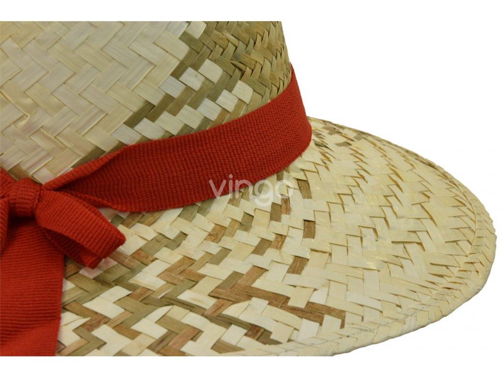 Dámský letní slaměný klobouk s červenou stuhou - Vingo 8d074d2848