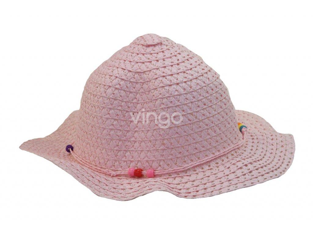 Růžový dětský slaměný klobouk - Vingo 9e685bd385