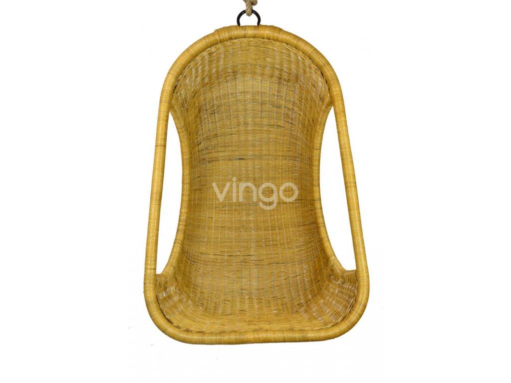 Závěsné ratanové křeslo Vingo medové - pohled zepředu