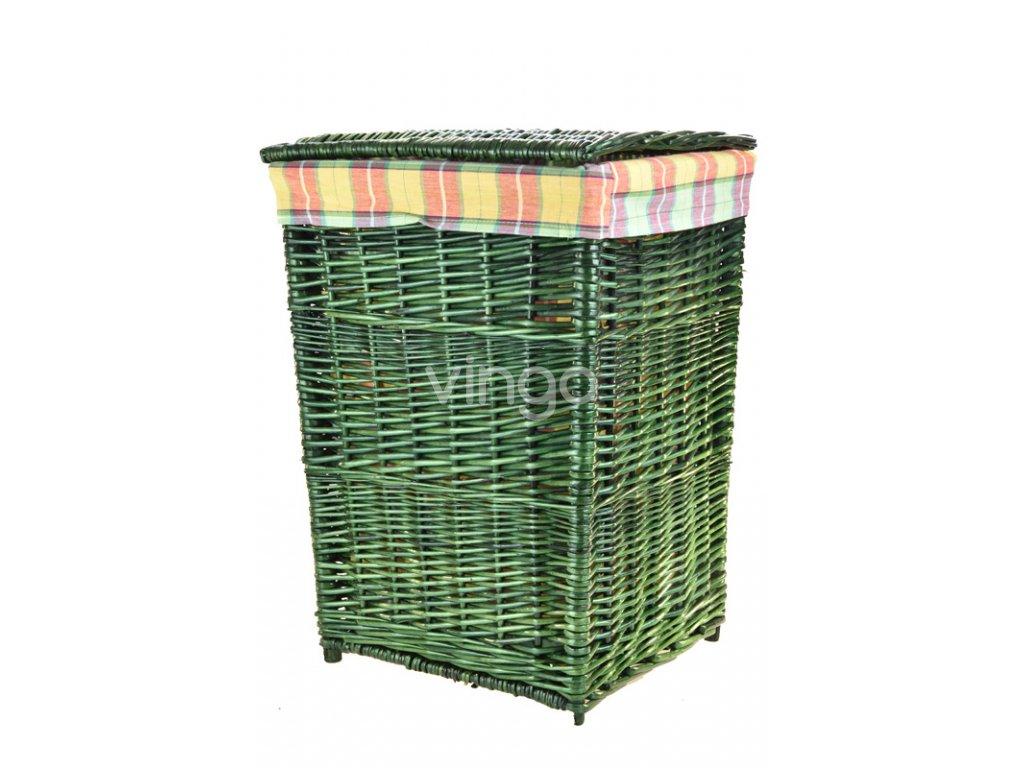 Zelený proutěný koš na prádlo s oranžovou látkou (rozměry (cm) 39x34, v. 52)