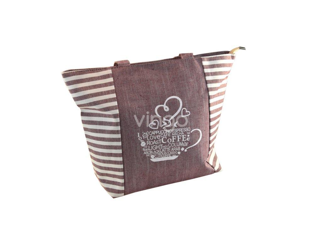 18206 2 lehka pruhovana kabelka s 2 uchy