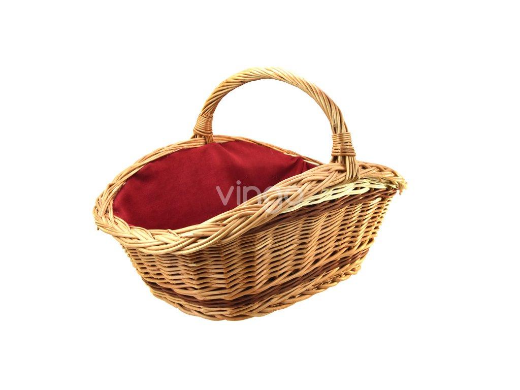 Proutěný koš na dřevo - vínová textilie