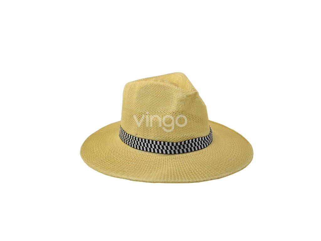 Pánský klobouk s černobílou stuhou