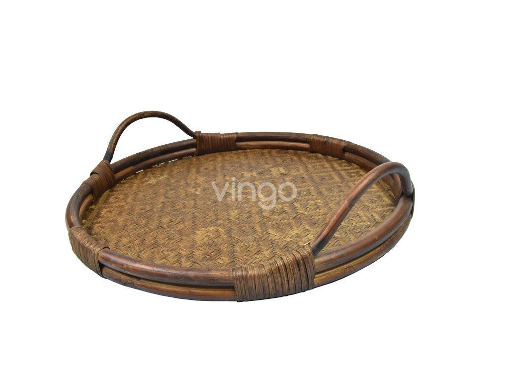 Hnědý kulatý podnos z bambusu