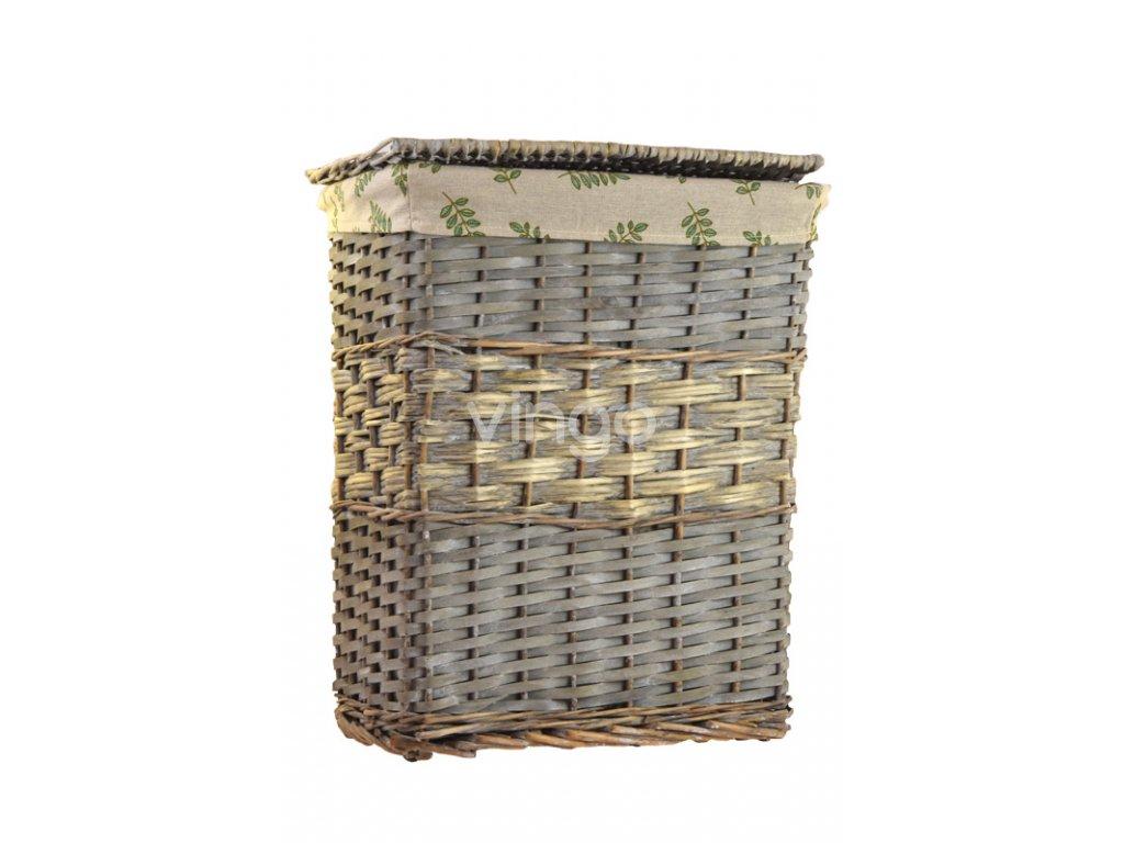 Šedý proutěný hranatý koš na prádlo (Rozměry (cm) 34x22, v. 40)