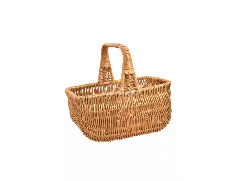 Hranatý proutěný košík na nákup