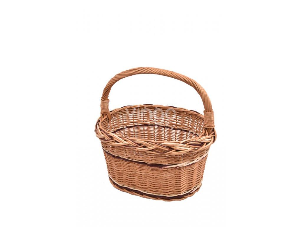 Košík na nákup s barevným propletením s podélnou ručkou