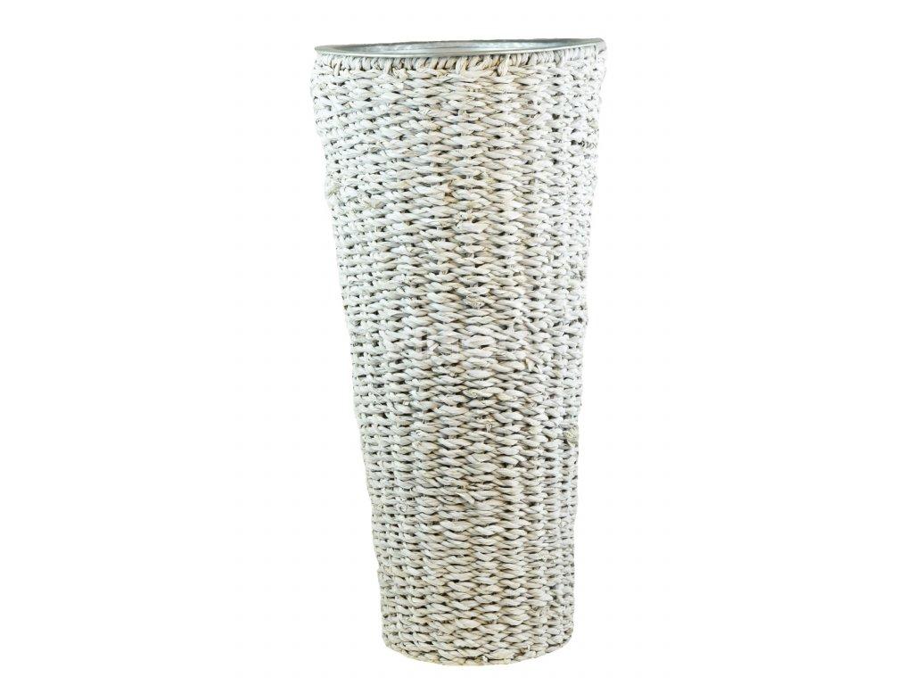 Kulatá váza Vingo bílá pleteno z mořské trávy