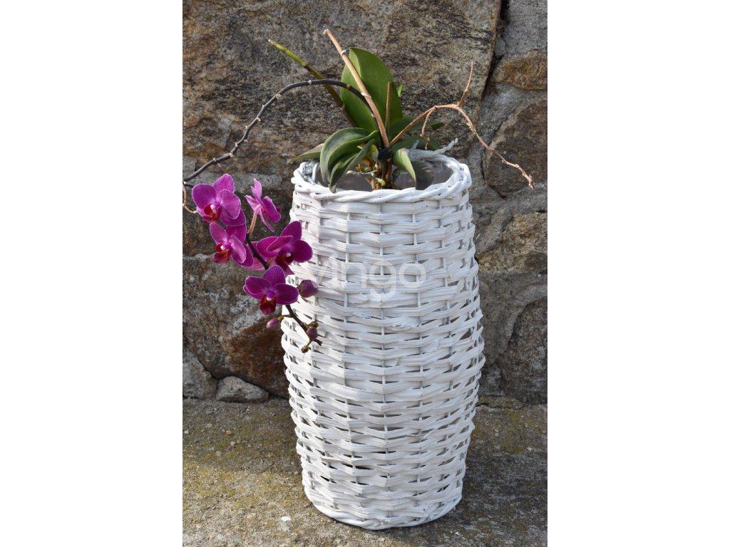 Váza proutěná bílá (rozměry 23x50)