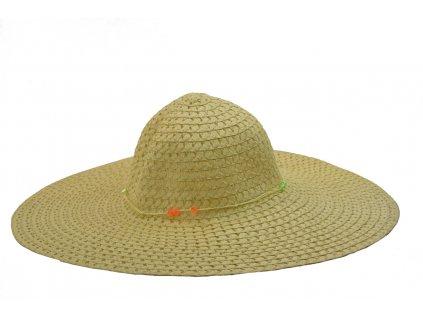 16233 siroky damsky letni klobouk v prirodni barve zdobeny koralky