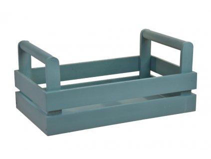 Dřevěná bedýnka pastelově modrá