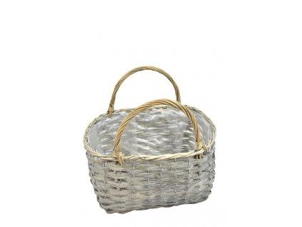 Obal na květináč - šedá taška