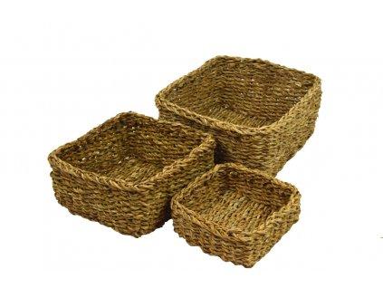 Sada 3 nízkých hranatých boxů z mořské trávy