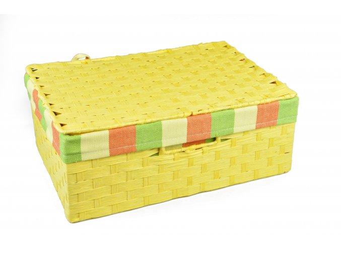 Sada 3 úložných boxů s víkem žlutých (rozměry boxu Sada  11x30x21|13x36x24|15x40x27)