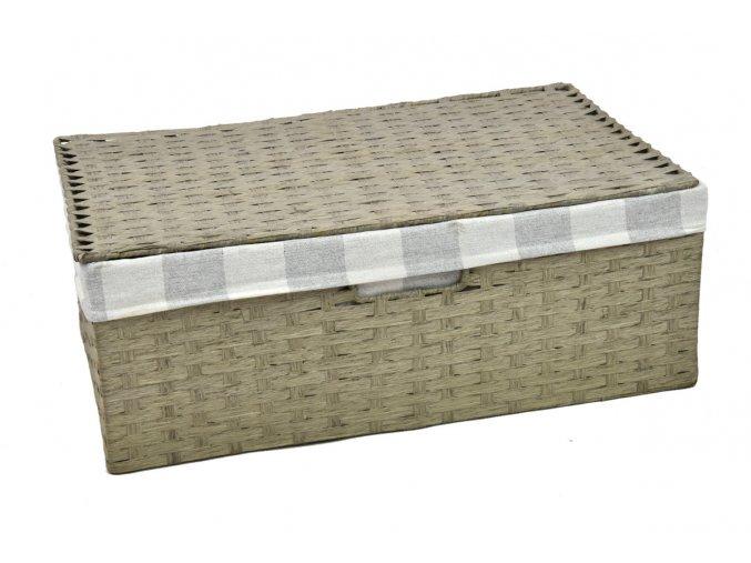 Sada 3 úložných boxů s víkem šedých (rozměry boxu Sada  11x30x21|13x36x24|15x40x27)