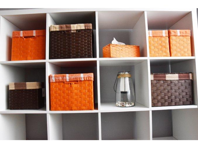 Sada 4 úložných boxů s víkem hnědých (rozměry boxu Sada  30x43x32 28x40x29 26x36x25 24x32x21)