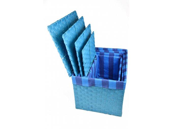 Sada 4 úložných boxů s víkem modrých (rozměry boxu Sada  30x43x32|28x40x29|26x36x25|24x32x21)