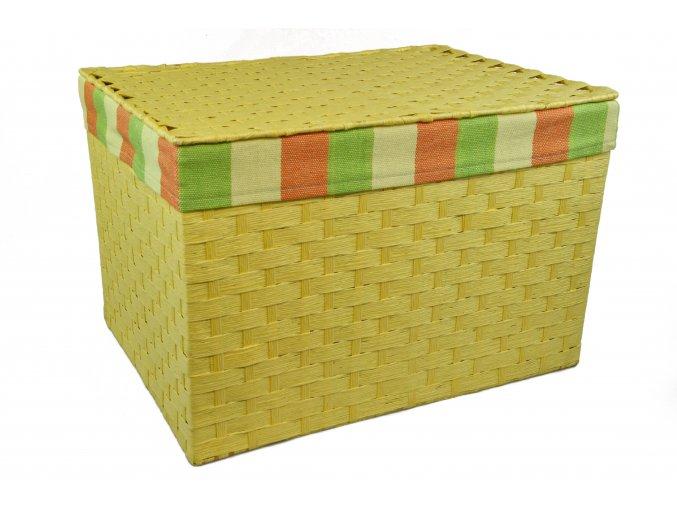 Sada 4 úložných boxů s víkem žlutých (rozměry boxu Sada  30x43x32|28x40x29|26x36x25|24x32x21)