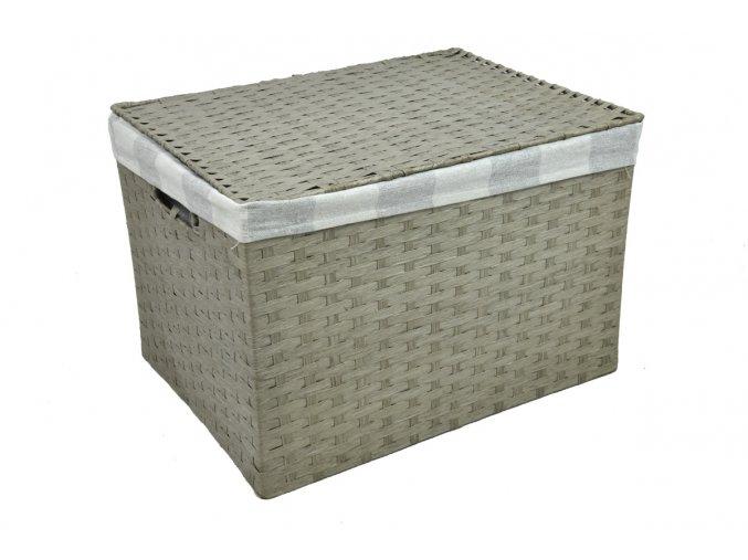 Sada 4 úložných boxů s víkem šedých (rozměry boxu Sada  30x43x32 28x40x29 26x36x25 24x32x21)