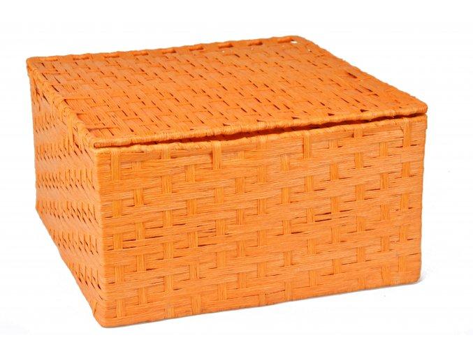 Sada 3 úložných boxů s víkem oranžových