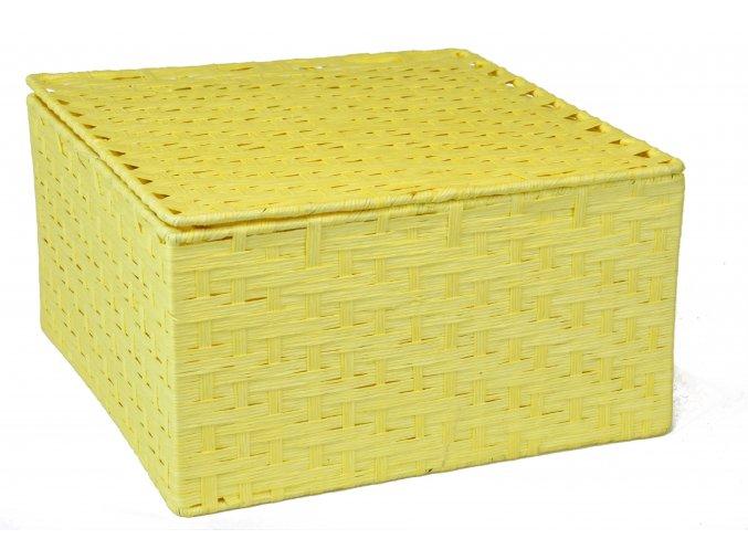 Sada 3 úložných boxů s víkem žlutá