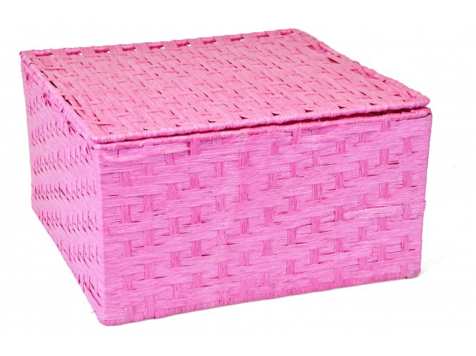 Sada 3 úložných boxů s víkem růžových