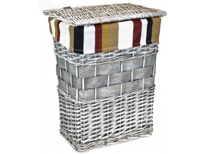 Koš na prádlo šedý (rozměry (cm) víko 30x22, v. 41)