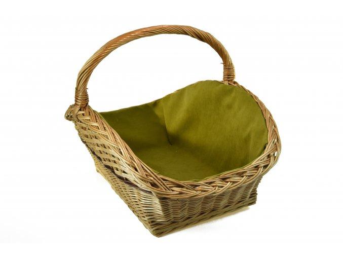Proutěný koš na dřevo s olivovou textilií