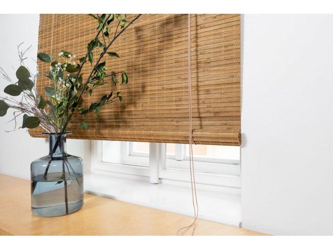Zatemňovácí bambusová roleta světle hnědá - ořech (šířka x délka 90x200)
