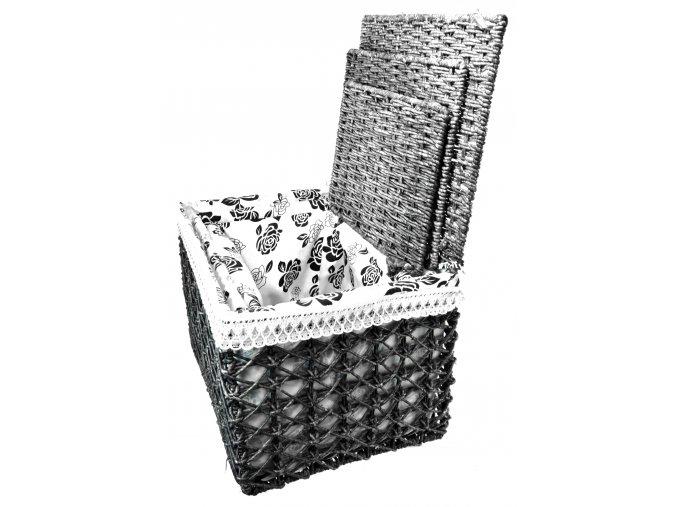Úložný box s víkem černý (rozměry (cm) 40x28, v. 30)