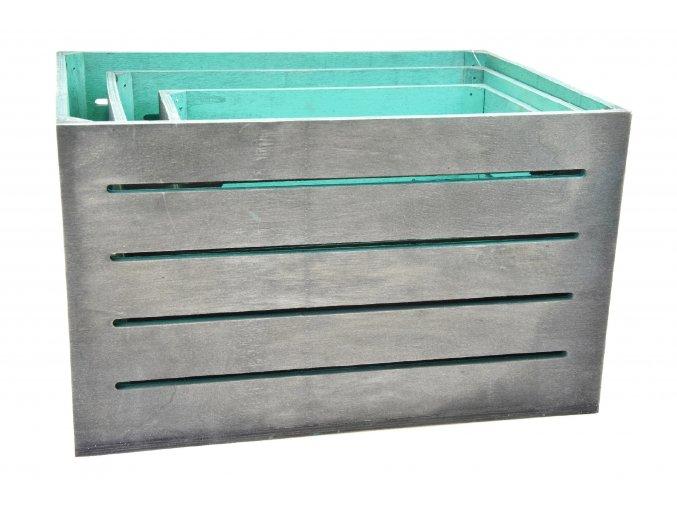Dřevěná bedýnka šedo-zelená