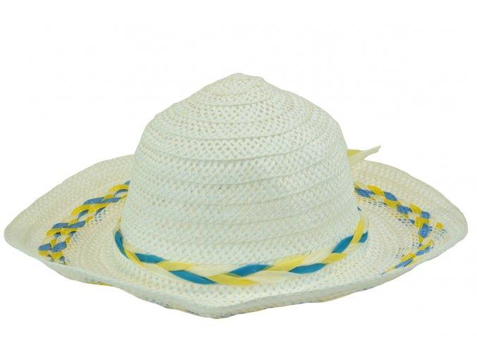 13665 klobouk bily s modro zlutou spletenim