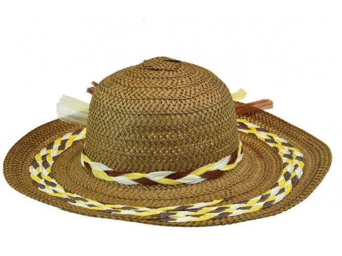 13668 klobouk hnedy se zlutou bilym spletenim