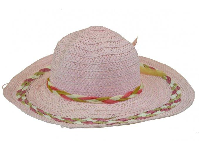 13674 klobouk ruzovy s khaki bilym spletenim