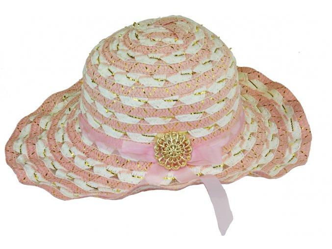 Slaměný klobouk lososovo-bílý