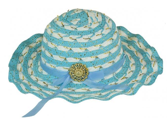 13722 slameny klobouk modro bily