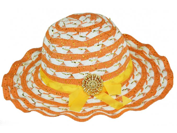 13725 slameny klobouk oranzovo bily