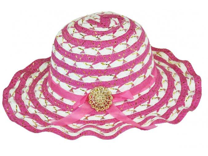 Slaměný klobouk růžovo-bílý