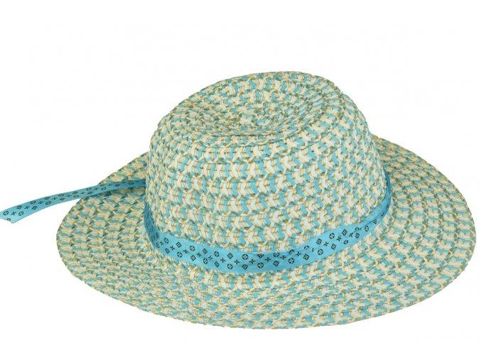 Slaměný klobouk modro-bílý s květinou