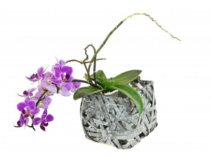 Květináč čtverhraný šedý