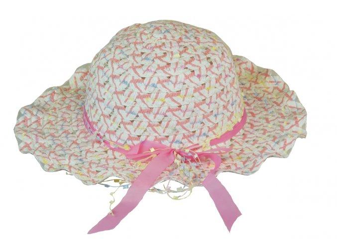 Slaměný klobouk lososový s mašlí