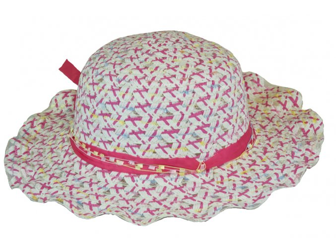 14040 slameny klobouk ruzovy s masli
