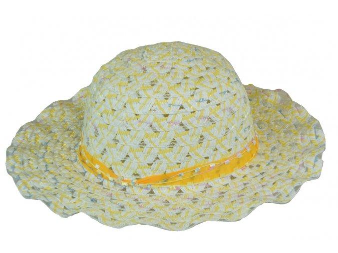 Slaměný klobouk žlutý s mašlí