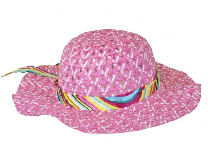 14055 slameny klobouk ruzovy se stuhou