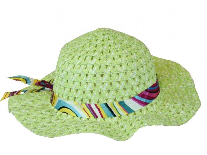 Slaměný klobouk zelený se stuhou