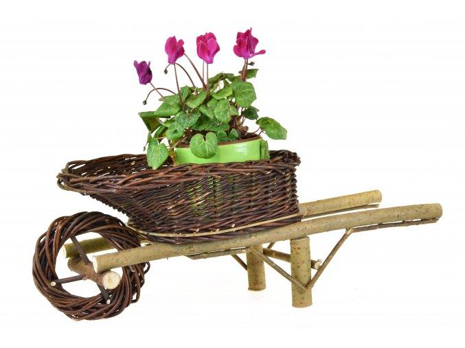 Proutěné kolečko Vingo s květinou