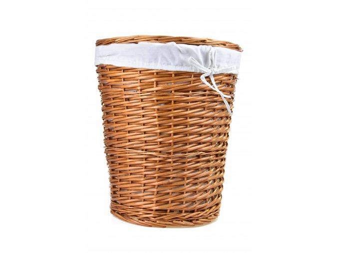 Kulatý proutěný prádelní koš s látkou