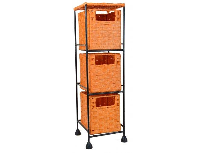 Drátěná police Vingo s vloženými oranžovými boxíky