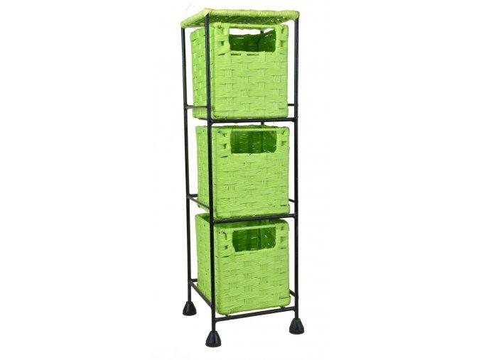 Drátěná police Vingo s vloženými zelenými boxíky