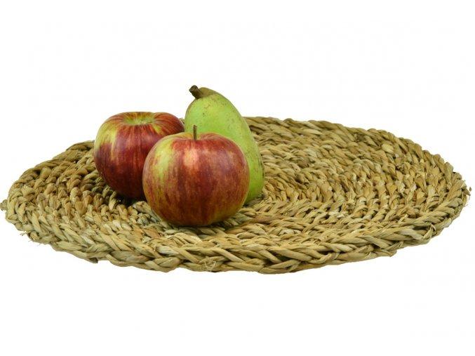 Prostírání Vingo kulaté pletené z mořské trávy - ukázka použití
